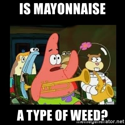 Patrick Star Instrument - Is mayonnaise  a type of weed?