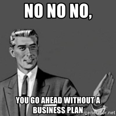 No no no, you go ahead without a business plan - Correction