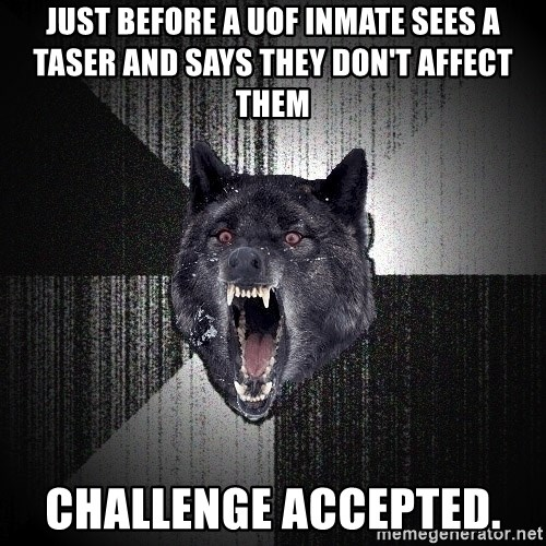 flniuydl - just before a UOF inmate sees a taser and says they don't affect them challenge accepted.