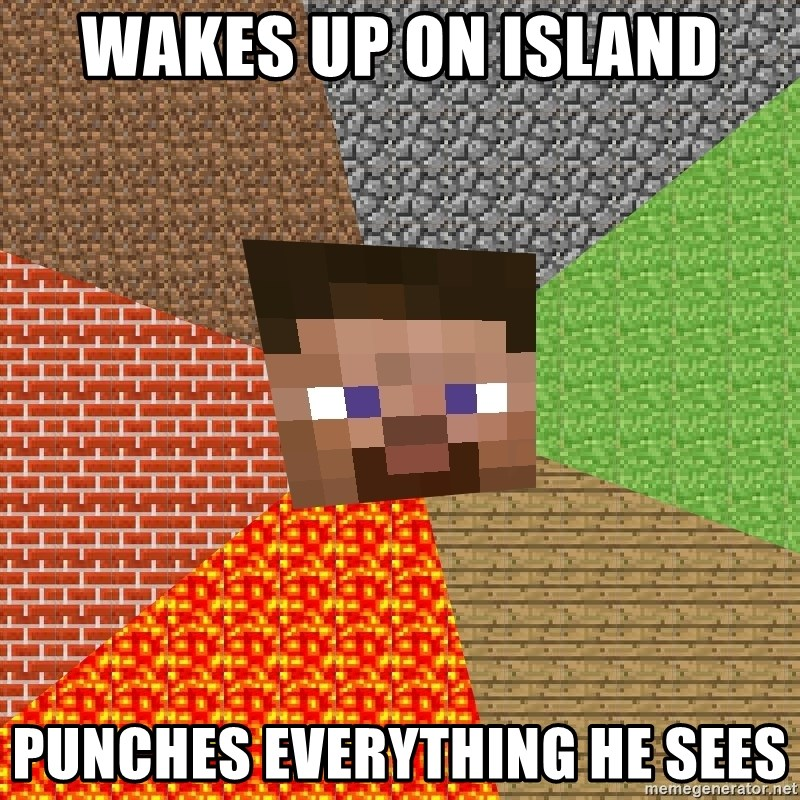 Minecraft Guy - wakes up on island punches everything he sees
