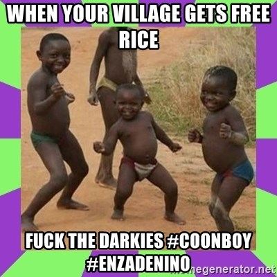 african kids dancing - when your village gets free rice  FUCK THE DARKIES #COONBOY #ENZADENINO