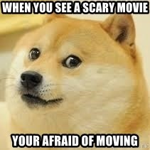 dogeee - when you see a scary movie your afraid of moving