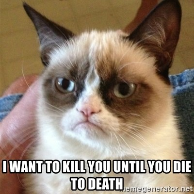 Grumpy Cat  - I want to kill you until you die to death