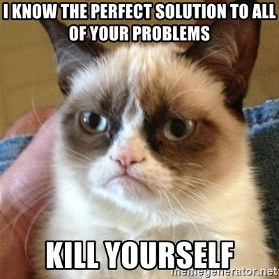 Grumpy Cat  - I know the perfect solution to all of your problems Kill yourself