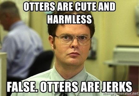 Dwight Schrute - Otters are cute and harmless False. Otters are jerks