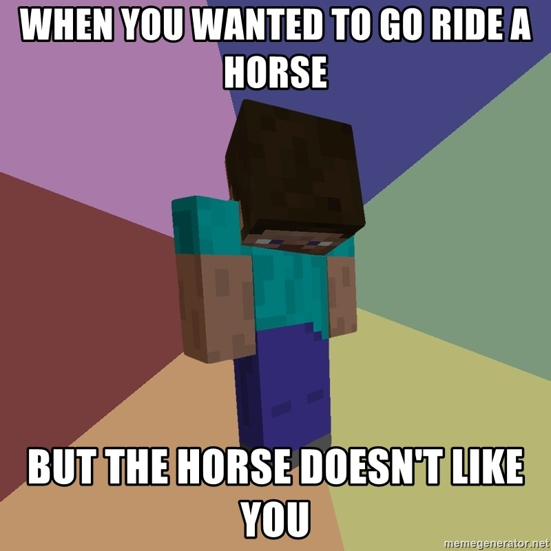 Depressed Minecraft Guy - when you wanted to go ride a horse But the horse doesn't like you