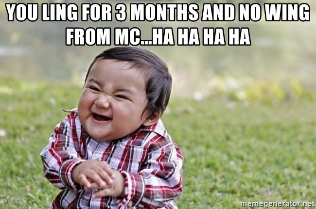 evil asian plotting baby - YOU LING FOR 3 MONTHS AND NO WING FROM MC...HA HA HA HA