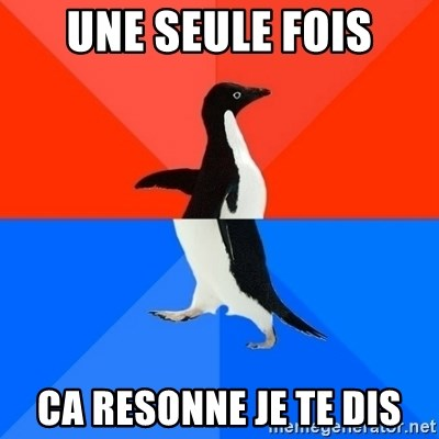 Socially Awesome Awkward Penguin - UNE SEULE FOIS CA RESONNE JE TE DIS