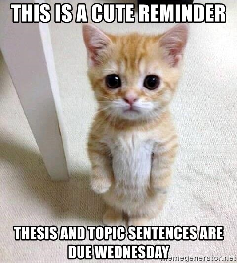 This is a cute reminder Thesis and Topic Sentences are due