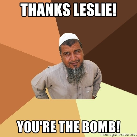 Ordinary Muslim Man - Thanks Leslie! You're the Bomb!
