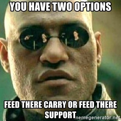 What If I Told You - You have two options Feed there carry or feed there support