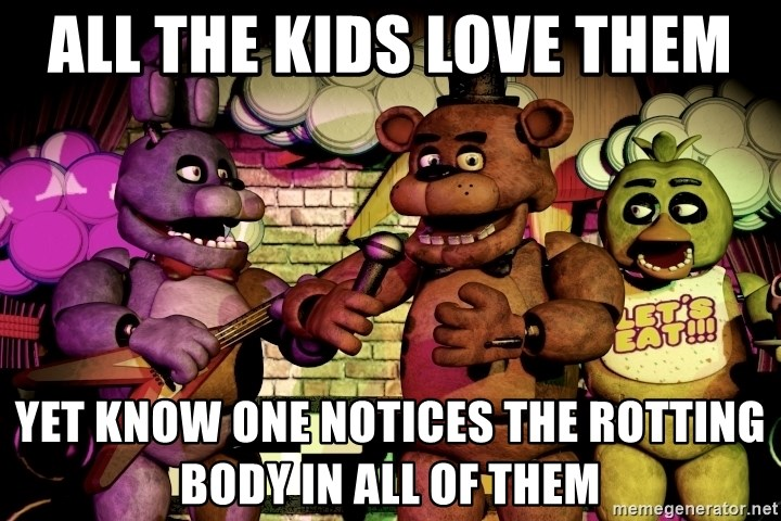 The band fnaf - all the kids love them yet know one notices the rotting body in all of them