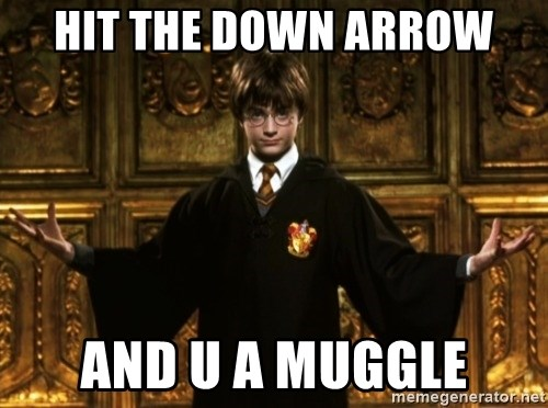 Harry Potter Come At Me Bro - Hit the down arrow and u a muggle