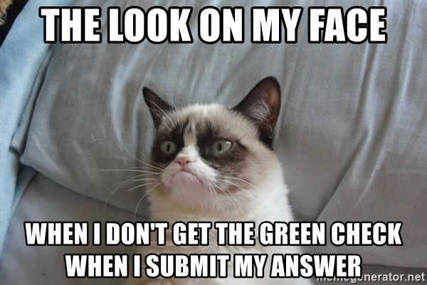 Grumpy cat good - The Look on my face When I don't get the green check when I submit my answer