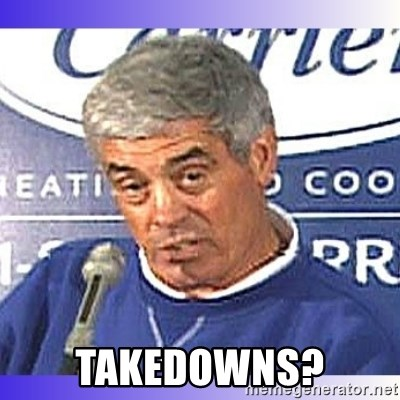 jim mora - takedowns?