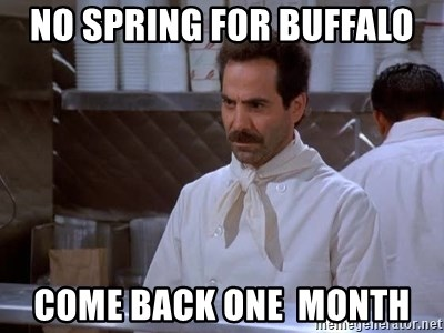 soup nazi - no spring for buffalo come back one  month
