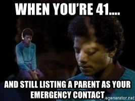 Sad Michael Jackson Chair - When you're 41.... And still listing a parent as your emergency contact