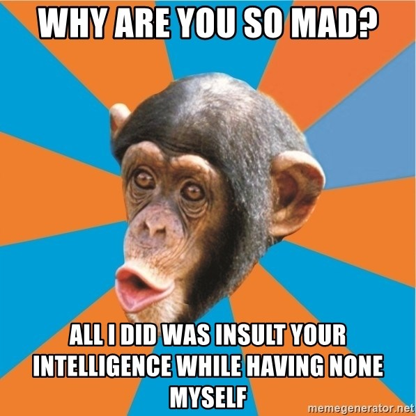 Stupid Monkey - Why are you so mad? All I did was insult your intelligence while having none myself