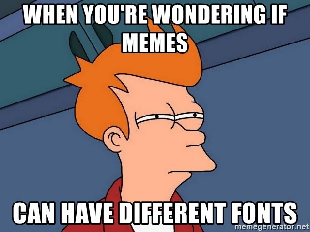Futurama Fry - when you're wondering if memes  can have different fonts