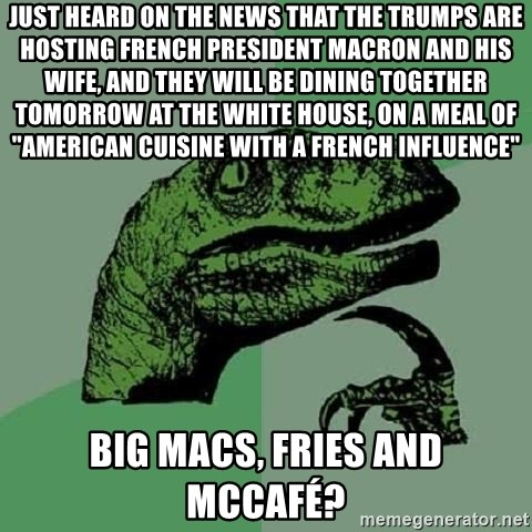 """Philosoraptor - Just heard on the news that the trumps are hosting french president macron and his wife, and they will be dining together tomorrow at the white house, on a meal of """"american cuisine with a french influence"""" big macs, fries and McCafé?"""