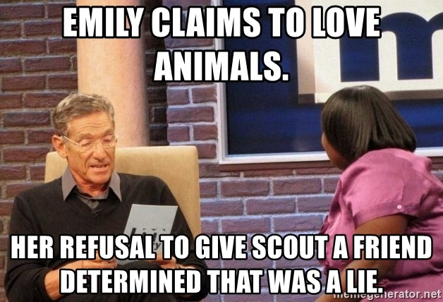 Maury Lie Detector - Emily claims to love animals.  Her refusal to give Scout a friend determined that was a lie.