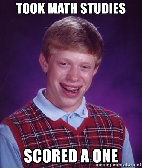 Bad Luck Brian - Took Math Studies Scored a one