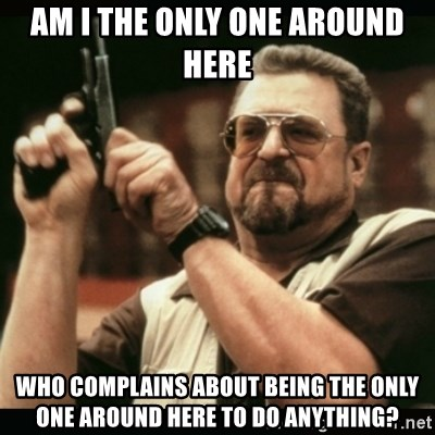 am i the only one around here - AM I THE ONLY ONE AROUND HERE WHO COMPLAINS ABOUT BEING THE ONLY ONE AROUND HERE TO DO ANYTHING?