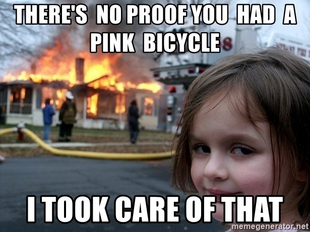 Disaster Girl - There's  no proof you  had  a pink  bicycle  I took care of that