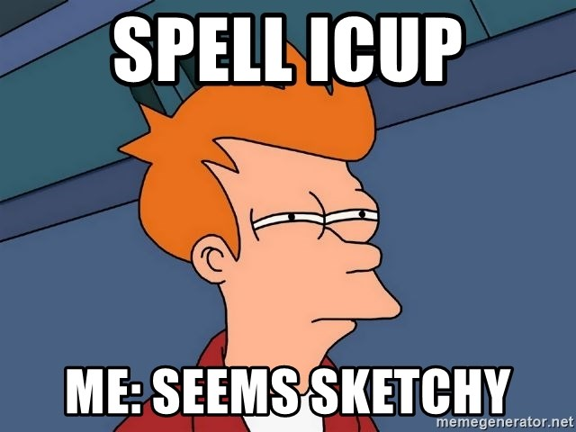 Futurama Fry - spell icup me: seems sketchy