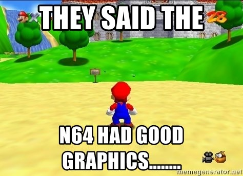 Mario looking at castle - they said the N64 had good graphics........