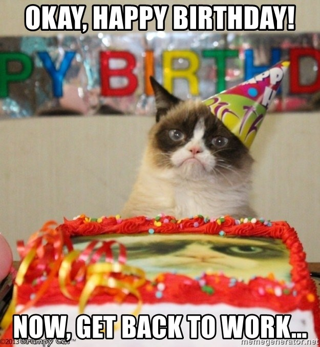 Fantastic Okay Happy Birthday Now Get Back To Work Grumpy Cat Personalised Birthday Cards Paralily Jamesorg