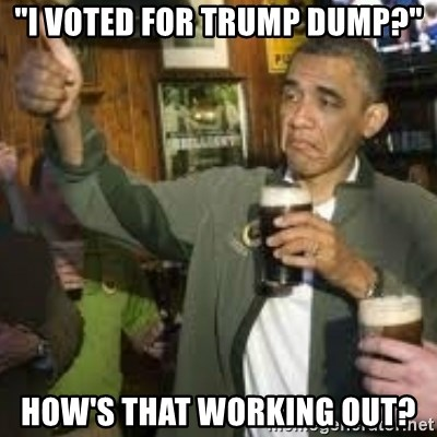 "obama beer - ""I voted for Trump Dump?"" HOW'S THAT WORKING OUT?"