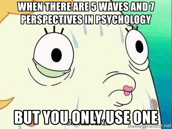ohhhhhneuptuone - When there are 5 waves and 7 perspectives in psychology But you only use one