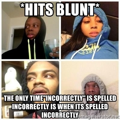 """Hits Blunts - *hits blunt* The only time""""incorrectly"""" is spelled incorrectly is when its spelled incorrectly"""