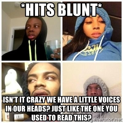 Hits Blunts - *HITS BLUNT* Isn't it crazy we have a little voices in our heads? Just like the one you used to read this?