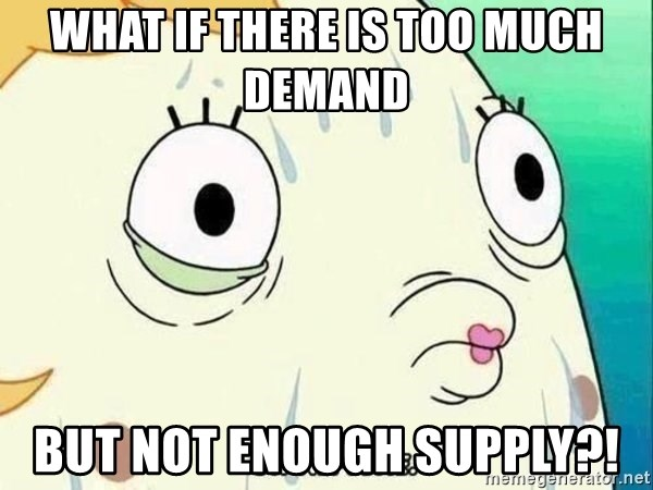 ohhhhhneuptuone - what if there is too much demand  but not enough supply?!