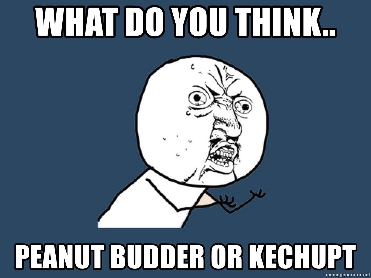 Y U No - What do you think.. peanut budder or kechupt