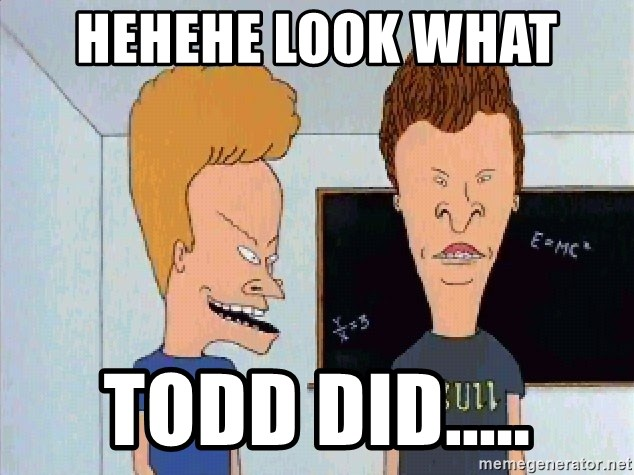 Beavis and butthead - HEHEHE LOOK WHAT  TODD DID.....