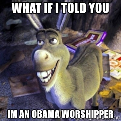 Donkey Shrek - what if i told you  im an Obama worshipper
