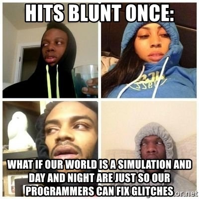 Hits Blunts - Hits Blunt once: WHAT IF OUR WORLD IS A SIMULATION AND DAY AND NIGHT ARE JUST SO OUR PROGRAMMERS CAN FIX GLITCHES