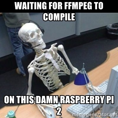 waiting for FFMPEG to compile on this damn raspberry pi 2 - Skeleton