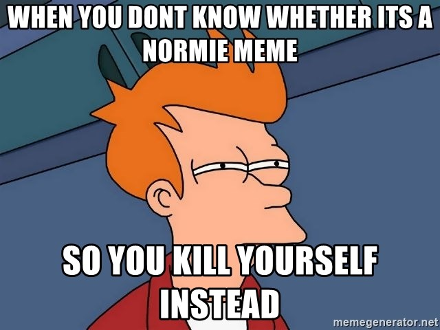 Futurama Fry - when you dont know whether its a normie meme so you kill yourself instead