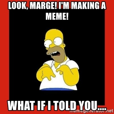 Homer retard - look, marge! I'm making a meme! what if i told you....