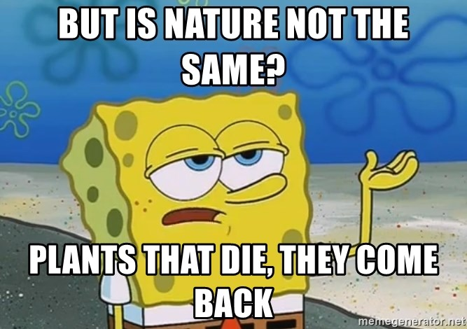 I'll have you know Spongebob - but is nature not the same? plants that die, they come back