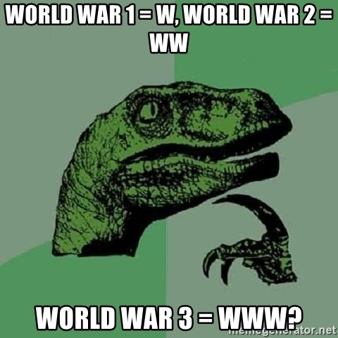 Philosoraptor - world war 1 = w, world war 2 = ww world war 3 = www?