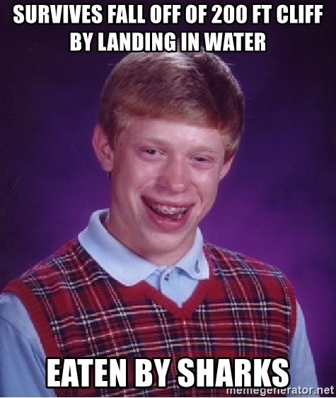 Bad Luck Brian - Survives fall off of 200 ft cliff by landing in water Eaten by sharks