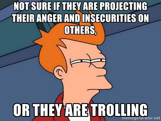 Futurama Fry - Not sure if they are projecting their anger and insecurities on others, or they are trolling