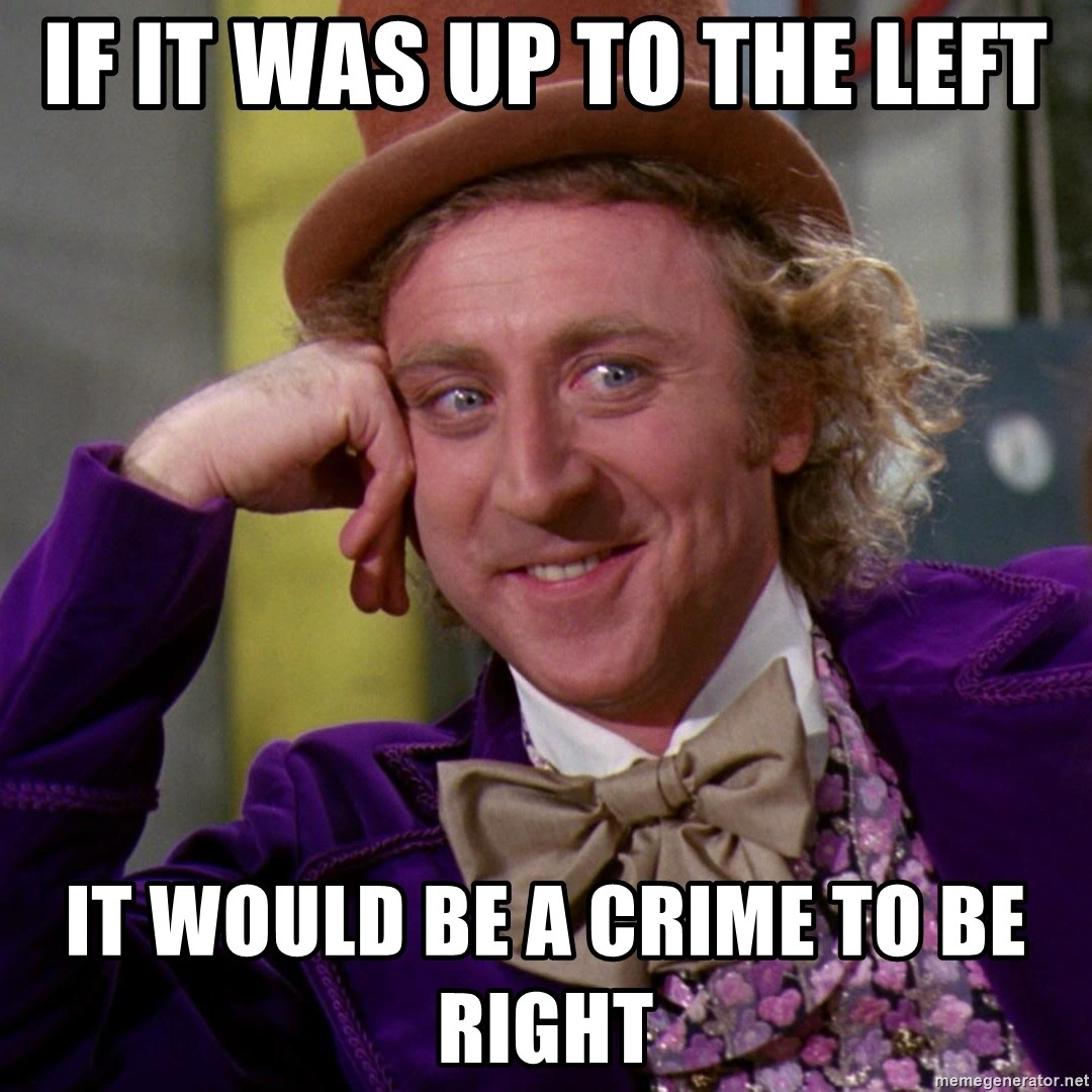 Willy Wonka - If it was up to the left it would be a crime to be right