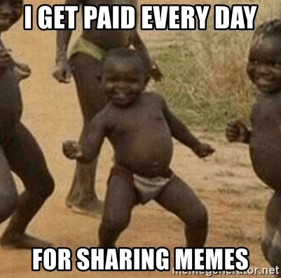 Success African Kid - I get paid every day for sharing memes