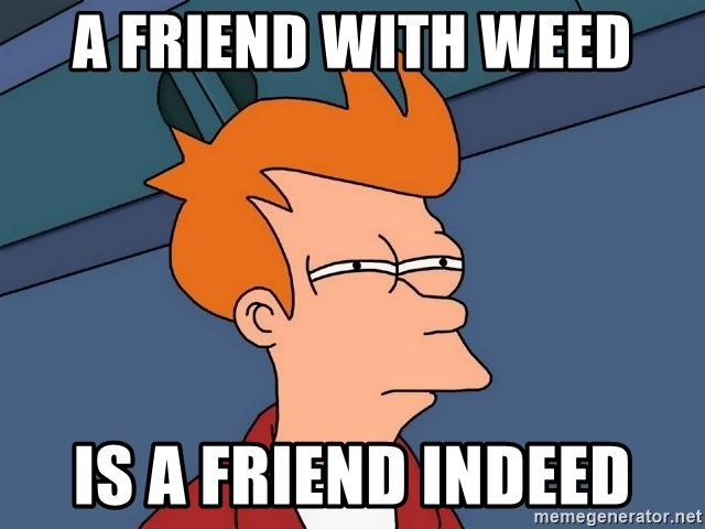 Futurama Fry - A friend with weed is a friend indeed